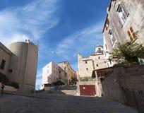 Calvi, cytadela, katedra, antyczne ściany, linia horyzontu, Corsica, Corse, Francja, Europa, wyspa Zdjęcia Royalty Free