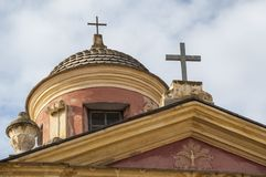 Calvi, cytadela, kościół, antyczne ściany, linia horyzontu, Corsica, Corse, Francja, Europa, wyspa Zdjęcie Stock