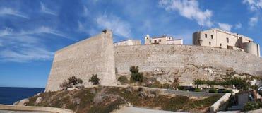 Calvi, cytadela, plaża, antyczne ściany, marina, linia horyzontu, Corsica, Corse, Francja, Europa, wyspa Zdjęcia Royalty Free
