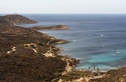 Calvi, faro di Revellata, spiaggia, Pointe De La Revellata, orizzonte, Corsica, Corse Haute, Francia, Europa, isola Fotografia Stock