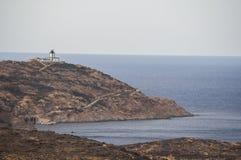 Calvi, faro di Revellata, spiaggia, Pointe De La Revellata, orizzonte, Corsica, Corse Haute, Francia, Europa, isola Fotografie Stock Libere da Diritti