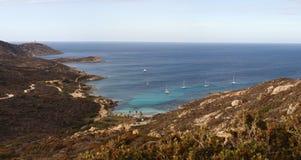 Calvi, faro di Revellata, spiaggia, Pointe De La Revellata, orizzonte, Corsica, Corse Haute, Francia, Europa, isola Immagine Stock