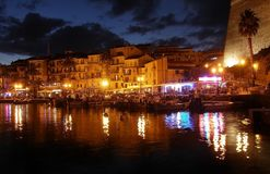 Calvi at night, the promenade and the pier, Corsica Stock Photography