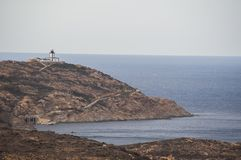 Calvi, Revellata latarnia morska, plaża, Pointe De Los Angeles Revellata, linia horyzontu, Corsica, Haute Corse, Francja, Europa, Zdjęcia Royalty Free