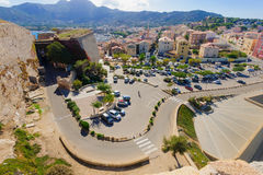 Calvi. View of the Ville-Basse (lower town) from the Citadel, in Calvi, The Balagne, Corsica, France Stock Image