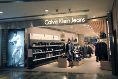 Calvin klein jeans shop in hong kong Royalty Free Stock Photo