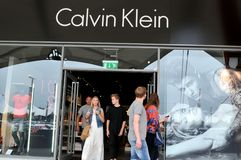 Calvin Klein. London, UK - June 14, 2015: Detail of the entrance to a Calvin Klein. Calvin Klein is a famous American fashion designer for men, women and Stock Photos