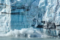 Calving, Tidewater Margerie Glacier, Alaska Royalty Free Stock Photos