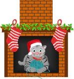 Calza del gatto di natale Immagine Stock Libera da Diritti