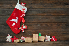 Calza della decorazione di Natale Immagine Stock Libera da Diritti