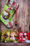 Calza della decorazione di Natale Fotografia Stock Libera da Diritti