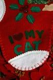 Calza di natale del gatto Immagini Stock Libere da Diritti