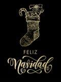 Calza di scintillio dell'oro di Feliz Navidad Spanish Merry Christmas Immagini Stock Libere da Diritti