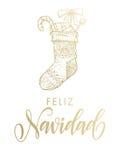 Calza di scintillio dell'oro di Feliz Navidad Spanish Merry Christmas Immagine Stock