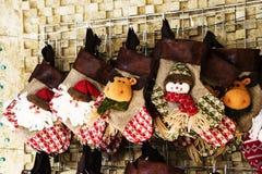 Calza e giocattoli della decorazione di Natale Fotografie Stock