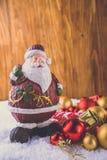 Calza e giocattoli della decorazione di Natale Fotografia Stock Libera da Diritti