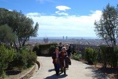 Calzada de Guell del parque, Barcelona imagen de archivo