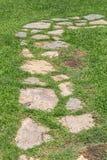 Calzada de la piedra y de la hierba imagenes de archivo