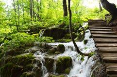 Calzada de madera sobre la cascada del plitvice Imagen de archivo libre de regalías
