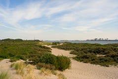 Calzada en la arena entre las plantas, las dunas de la playa arenosa y la opinión sobre el muelle y el canal, furgoneta Holanda d Fotos de archivo libres de regalías