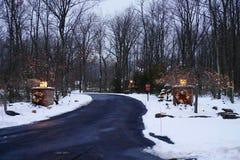 Calzada festiva en invierno Imágenes de archivo libres de regalías