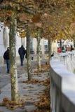 Calzada a lo largo del banco del río Ljubljanica, Ljubljana, Eslovenia imagen de archivo libre de regalías