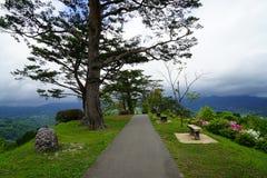 Calzada y bancos en jardín japonés en la cima de la montaña con panor Foto de archivo libre de regalías