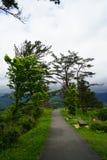 Calzada y bancos en jardín japonés en la cima de la montaña con panor Imagen de archivo