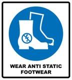 Calzado de la seguridad del desgaste Las botas protectoras de la seguridad se deben llevar, muestra obligatoria, ejemplo del vect ilustración del vector