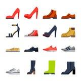 Calzado para todas las ocasiones zapatos, zapatillas de deporte, botas ilustración del vector