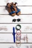 Calzado y accesorios del verano de la mujer Imagen de archivo