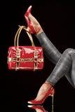 Calzado y monedero rojos Fotos de archivo libres de regalías