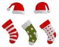 Calze e cappelli di Natale Immagine Stock
