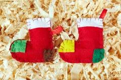 Calze fatte a mano di Natale Immagine Stock Libera da Diritti