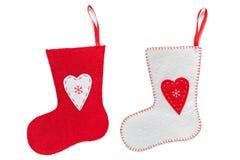 Calze fatte a mano di Natale isolate su bianco Immagini Stock Libere da Diritti