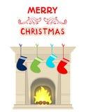Calzini del camino di Natale per i regali Fotografie Stock Libere da Diritti
