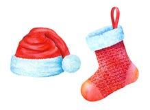Calzini del regalo e di Santa Claus Heat Illustrazione dell'acquerello Immagine Stock
