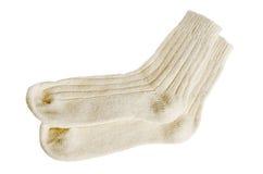 Calzini di lana bianchi è isolato Fotografia Stock