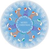 Calzini di Natale nel cerchio dei fiocchi di neve Fotografia Stock