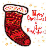 Calzino decorativo, Buon Natale, buon anno Fotografia Stock