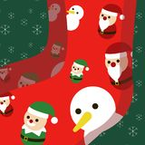 Calzino di natale felice con Santa, pupazzo di neve, elfo, renna, illustrazione sveglia Fotografie Stock