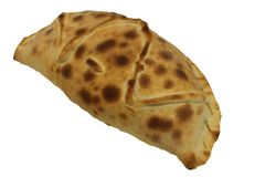 Calzone pizza. Italian food. Calzone pizza photograph on white background. stock image