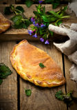 Calzone with ricotta  and  nettle Stock Images