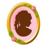 Camée accessoire de vintage avec la silhouette femelle Photo stock