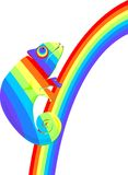 Caméléon multicolore sur un arc-en-ciel Photo stock