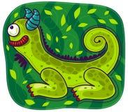 Caméléon vert avec des klaxons Photos libres de droits