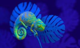 Caméléon vert clair, rendu 3d Photo libre de droits