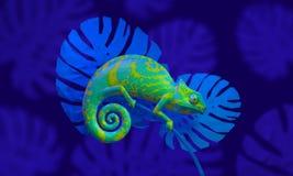 Caméléon vert clair, rendu 3d côté de vue Image libre de droits