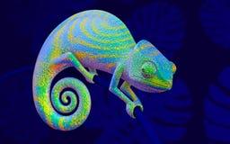 Caméléon vert sur la branche bleue, rendu 3d côté de vue Photo stock