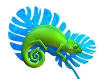 Caméléon vert sur la branche rendu 3d Photo libre de droits